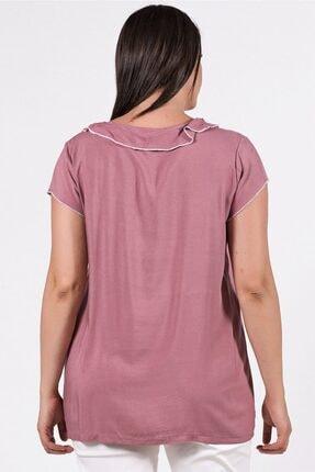 Womenice Büyük Beden Pudra Yakası Kolu Sufle Bluz 3