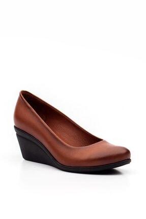 Deripabuc Hakiki Deri Taba Kadın Dolgu Topuklu Deri Ayakkabı Trc-0274 1