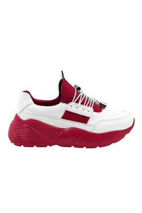 Abbondare Hakiki Deri Beyaz-kırmızı Kadın Spor Ayakkabı-sneaker 1