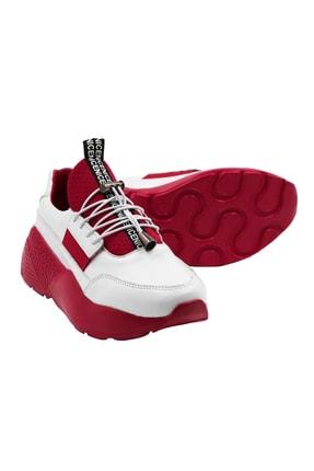 Abbondare Hakiki Deri Beyaz-kırmızı Kadın Spor Ayakkabı-sneaker 3
