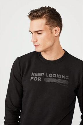 Avva Erkek Siyah Bisiklet Yaka Enjeksiyon Baskılı Sweatshirt A02y1079 1