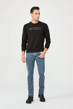 Avva Erkek Siyah Bisiklet Yaka Enjeksiyon Baskılı Sweatshirt A02y1079 3
