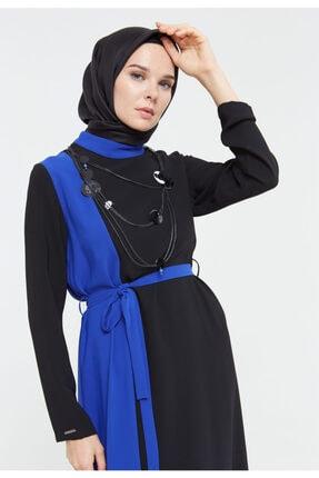 Zıt Renkli Kumaş Kemerli Elbise 211.ELB.ST.0022