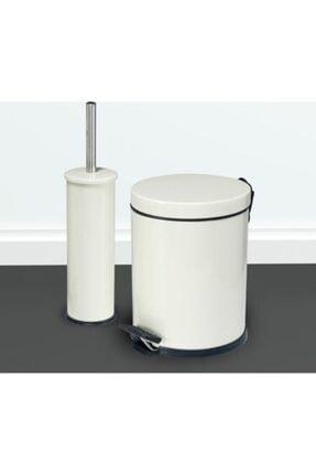 Berta Hijyen Berta 2'li Beyaz Banyo Seti Çöp Kovası Tuvalet Fırçası 0