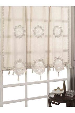 Buldan CSN Tekstil Buldan Otantik Işlemeli Yelpaze Keten Perde 0