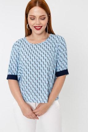 Kadın Bebe Mavi Büyük Beden Desenli Bluz resmi