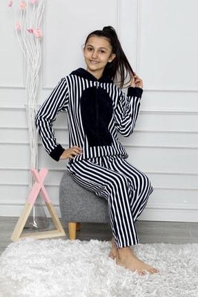 nisaNCa Desenli Kışlık Kız Çocuk Polar Tulum Pijama Takımı 0