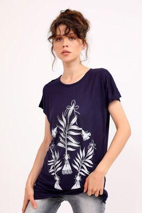 metropol tekstil Krt-050 Desenli Tshirt Lacivert 1