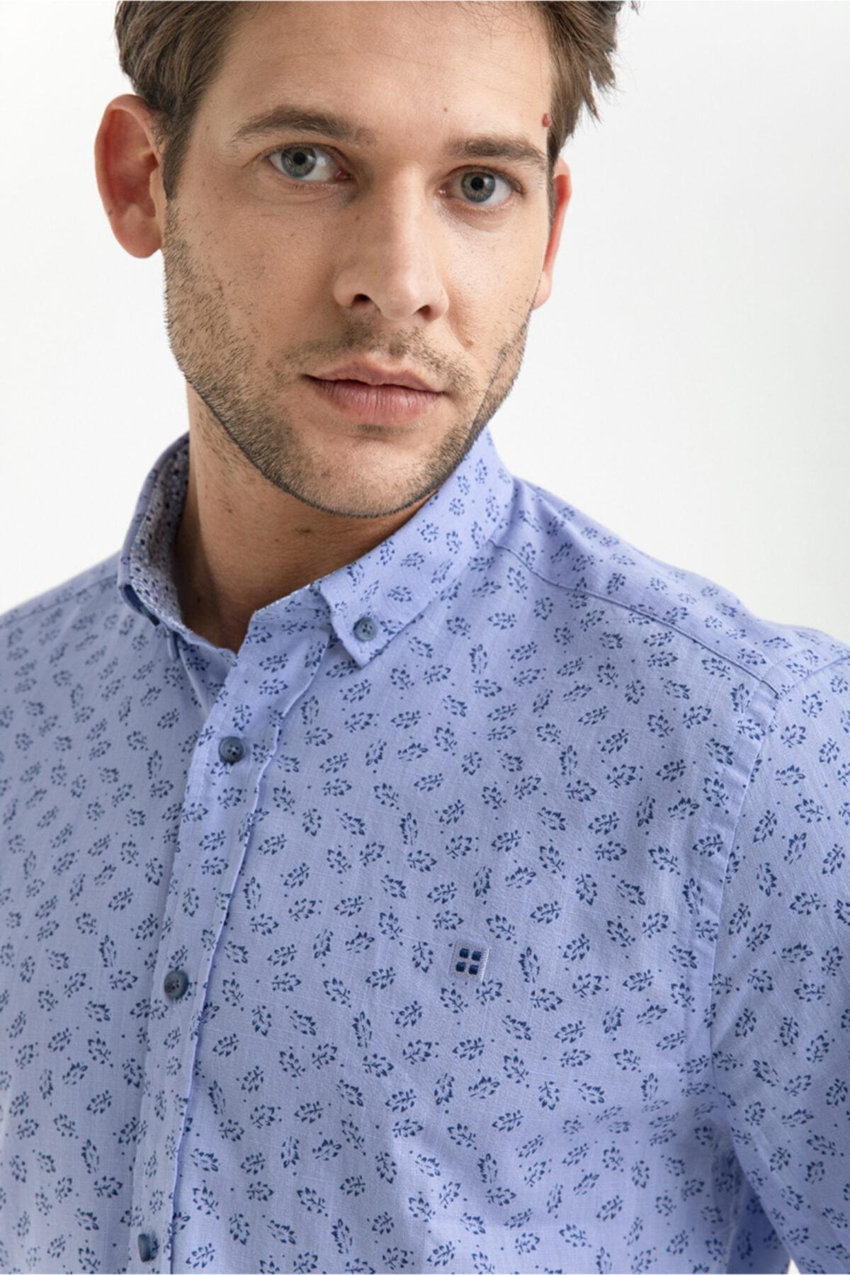 Erkek Mavi Baskılı Düğmeli Yaka Slim Fit Gömlek A01s2221