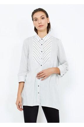 Adze Kadın Beyaz Çizgili Gömlek Tunik Beyaz Xs 0