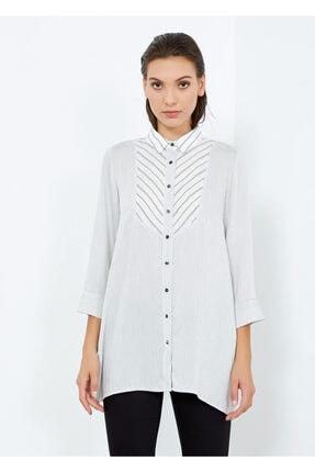 Adze Kadın Beyaz Çizgili Gömlek Tunik Beyaz Xs 4