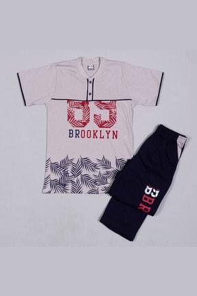 Picture of 2314 Gri Penye Brooklyn Baskılı Kısa Kollu Gez Boy Pijama Takımı