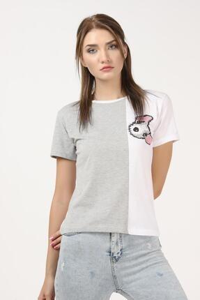 Tena Moda Kadın Gri-beyaz Parçalı Köpek Baskılı Tişört 1