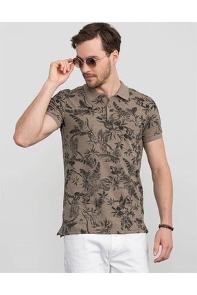 Tudors Slim Fit Polo Yaka Çiçek Desenli T-shirt 1