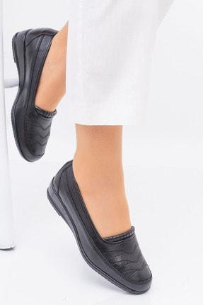 MelikaWalker Full Comfort Ortopedik Taban Bayan Ince Çizgili Siyah Anne Ayakkabısı 0