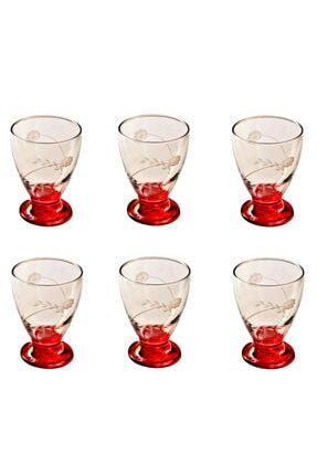 BAŞAK 41011 Çın Çın 12 Adet (Kırmızı Papatya) Su-meşrubat Bardağı 1