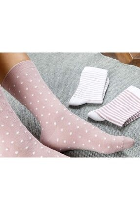 English Home Colourful Pamuk Kadın Çorap Beyaz - Pembe 1