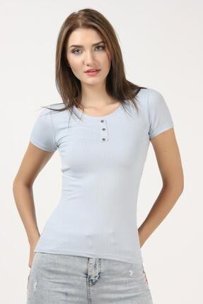 Tena Moda Kadın Açık Mavi Kısa Kollu Kaşkorse Önü Batlı Bluz 0