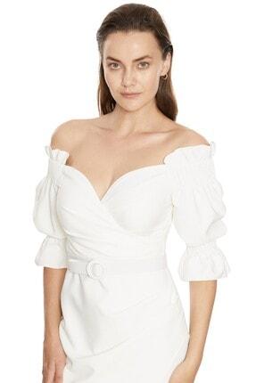 Fervente Beyaz Abiye Krep Kısa Kol Mini Nişan Elbise 2