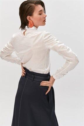 Rue Ekru Büzgülü Kollu Dik Yaka Bluz 2