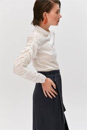 Rue Ekru Büzgülü Kollu Dik Yaka Bluz 3