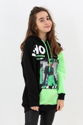 Enisena Yeşil Kız Çocuk Kapşonlu Digital Baskılı Tunik Sweatshirt 0