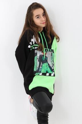 Enisena Yeşil Kız Çocuk Kapşonlu Digital Baskılı Tunik Sweatshirt 3
