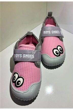 Gezer Kız Çocuk Pembe Gri Keten Anaokulu Kreş Ev Ayakkabısı 1