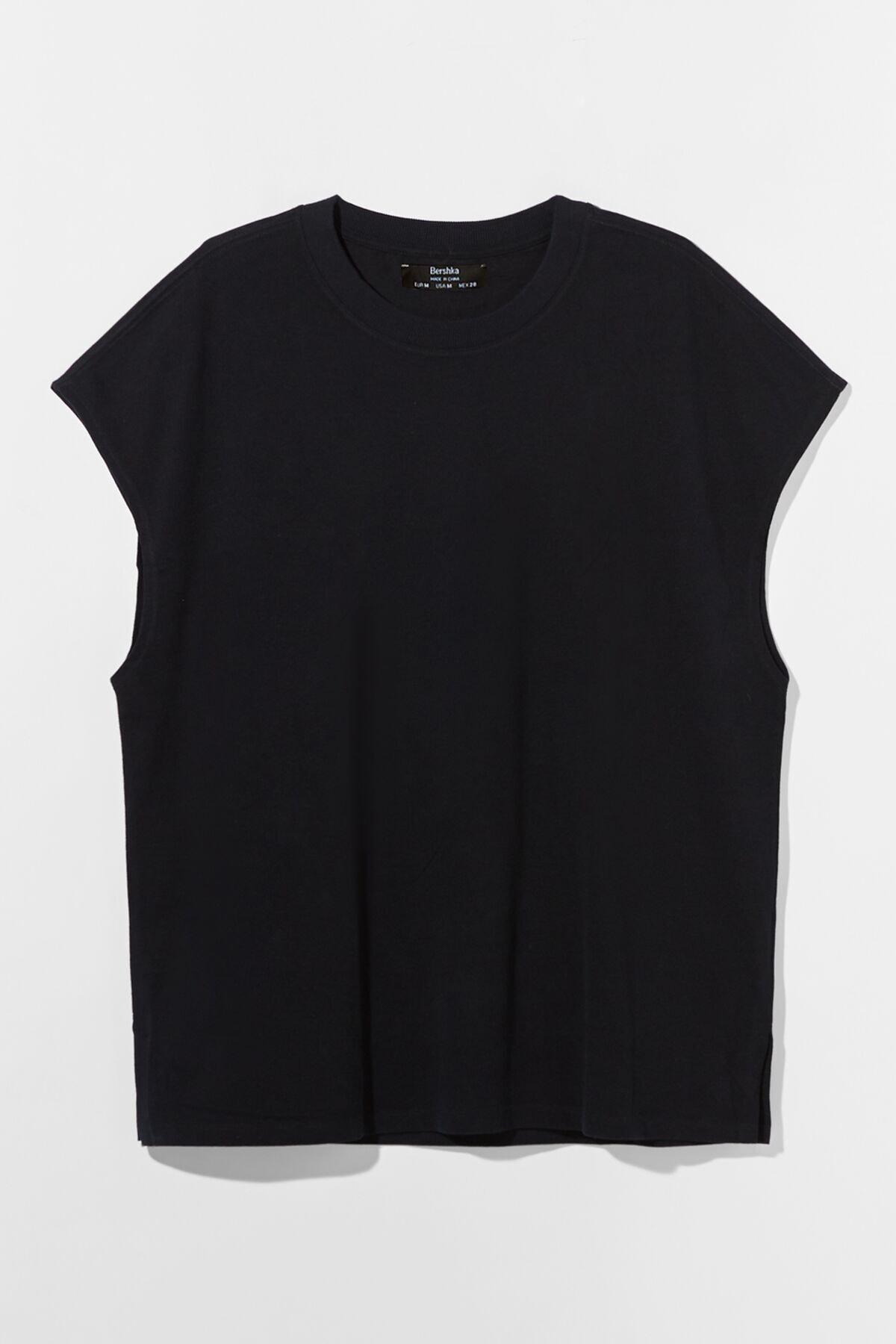 Bershka Erkek Siyah Ekstra Loose Fit Worker T-shirt 4