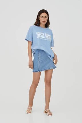 Pull & Bear Soluk Efektli Mavi Kolej T-shirt 2