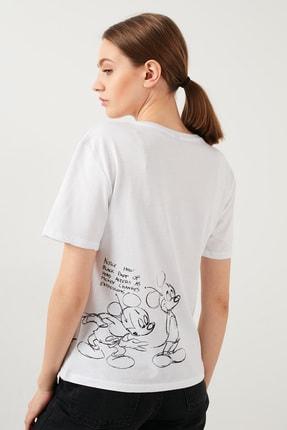 Lela Kadın Beyaz Baskılı Bisiklet Yaka Pamuklu T Shirt Kadın T Shirt 4217404 1