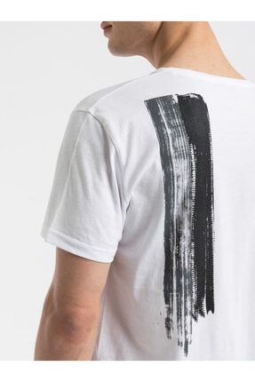Ltb Erkek  Beyaz  Baskılı  Kısa Kol Bisiklet Yaka T-Shirt 012198454469830000 2