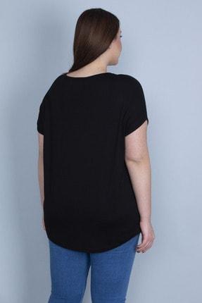 Şans Kadın Siyah Aplike Detaylı Bluz 65N23130 3