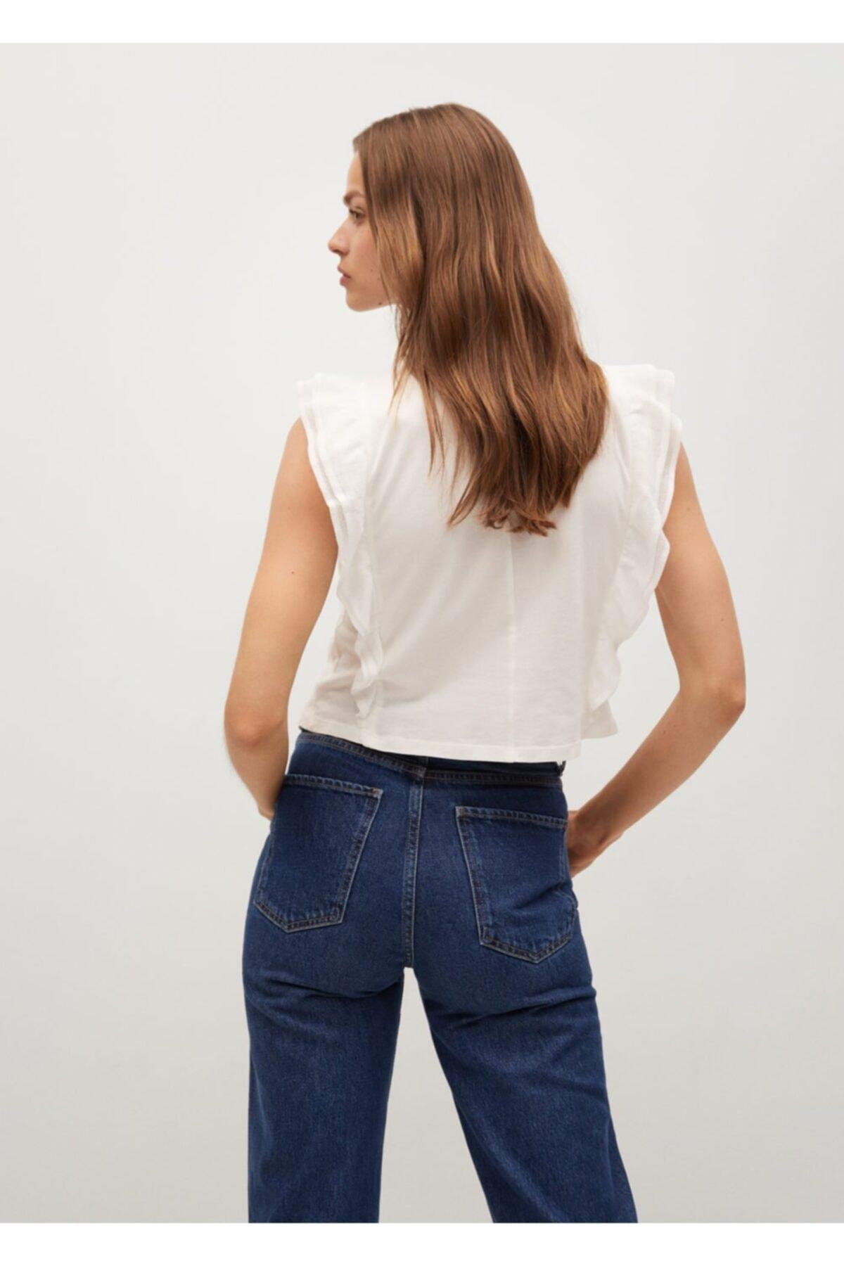 Mango Kadın Kırık Beyaz Fırfırlı Bluz