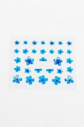 Takıştır Mavi Renk Çiçek Desenli Tırnak Dövmesi 1