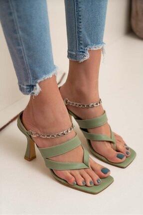 NİŞANTAŞI SHOES Kadın Gillian Yeşil Mat Parmak Arası Bilek Bağlı Topuklu Ayakkabı 2