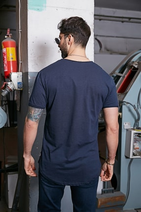 Sateen Men Erkek Lacivert Kısa Kol Long Kesim Basic T-Shirt 2