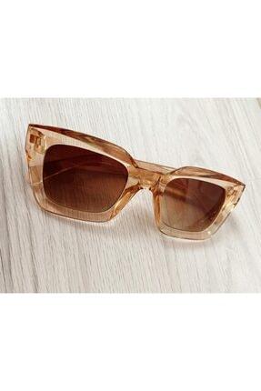 Mathilda Aksesuar Mia Kalın Çerçeveli Tasarım Gözlük Bal Çerçeve Kahve Cam 3
