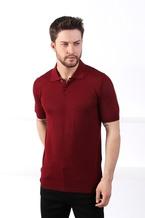 Ferraro Erkek   Bordo Polo Yaka Düğmeli  Pamuk Triko T-Shirt 1