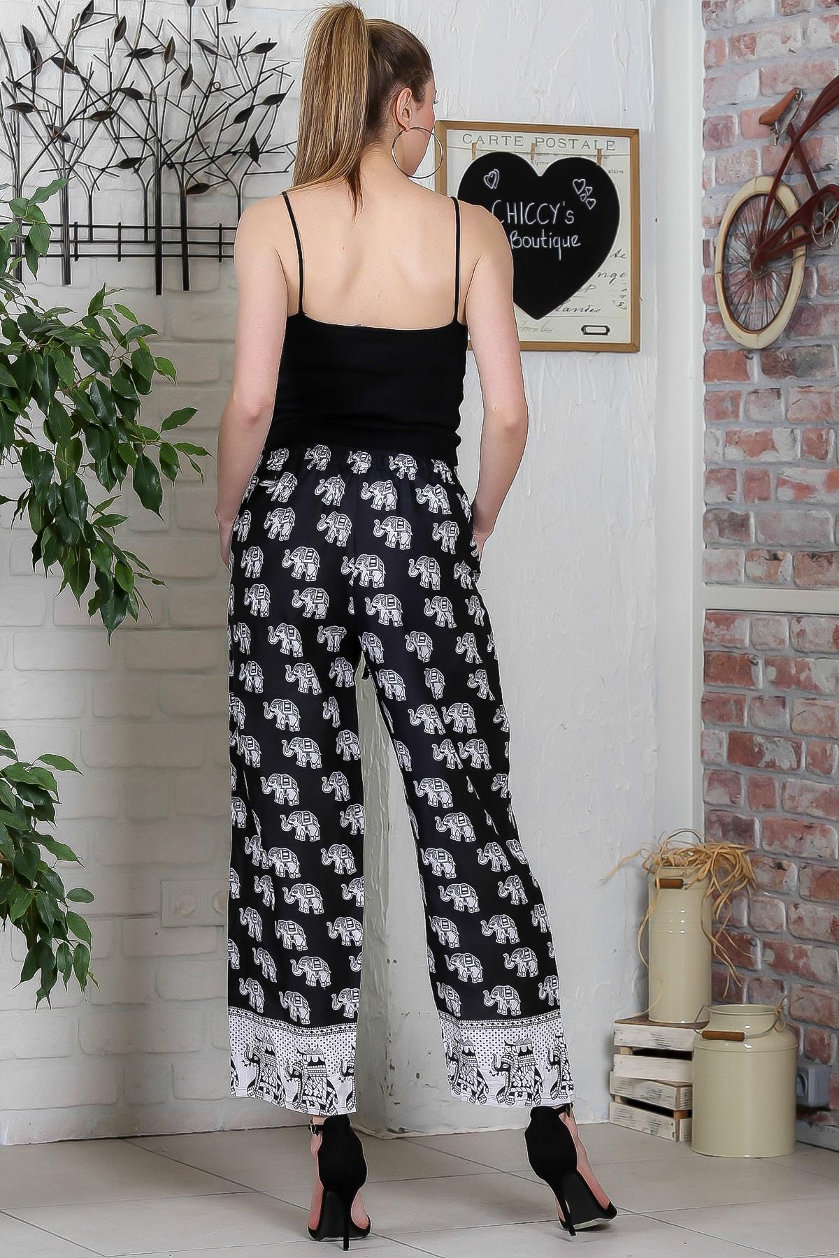 Chiccy Kadın Siyah Fil Desenli Cep Detaylı Dokuma Pantolon M10060000PN98900 4