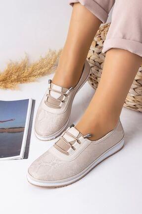 Lal Shoes & Bags Kadın Krem Parlak Ayakkabı 1
