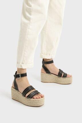 Bershka Dikiş Detaylı Hasır Platform Sandalet 1