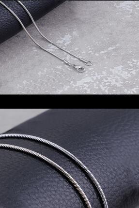 Salyangoz Company Unisex Gümüş İnce Yılan Model Çelik Zincir 60 cm 1