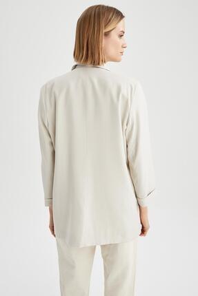 Defacto Kadın Ekru Oversize Fit Blazer Ceket 3