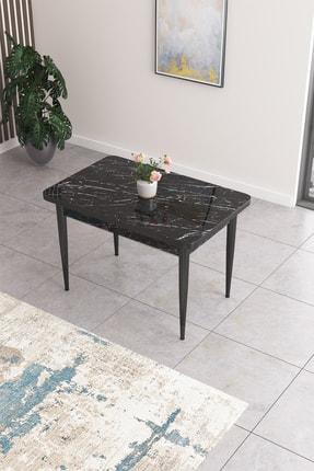 Canisa Concept Nil Serisi Siyah Mermer Desenli Yemek Masası,mutfak Masası-siyah Mermer Desenli 0