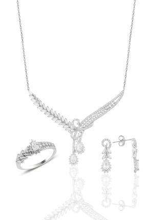 Söğütlü Silver Gümüş Rodyumlu Pırlanta Modeli Beyaz Altın Görünümlü Kolye Küpe Ve Yüzük Seti 0