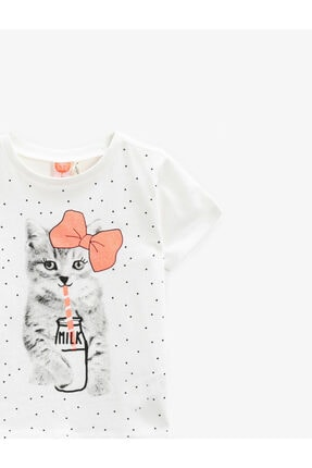 Koton Kız Bebek Ekru Kız Ekru Baskili Tshirt 1