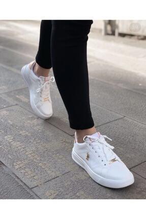 US Polo Assn EXXY Beyaz Kadın Havuz Taban Sneaker 100606373 2