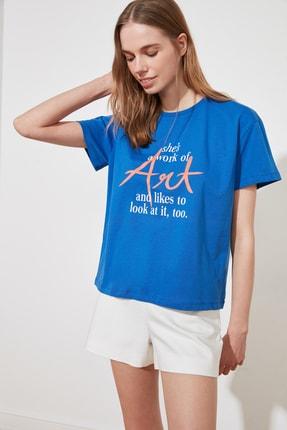 TRENDYOLMİLLA Saks Baskılı Semi-Fitted Örme T-Shirt TWOSS20TS0432 0