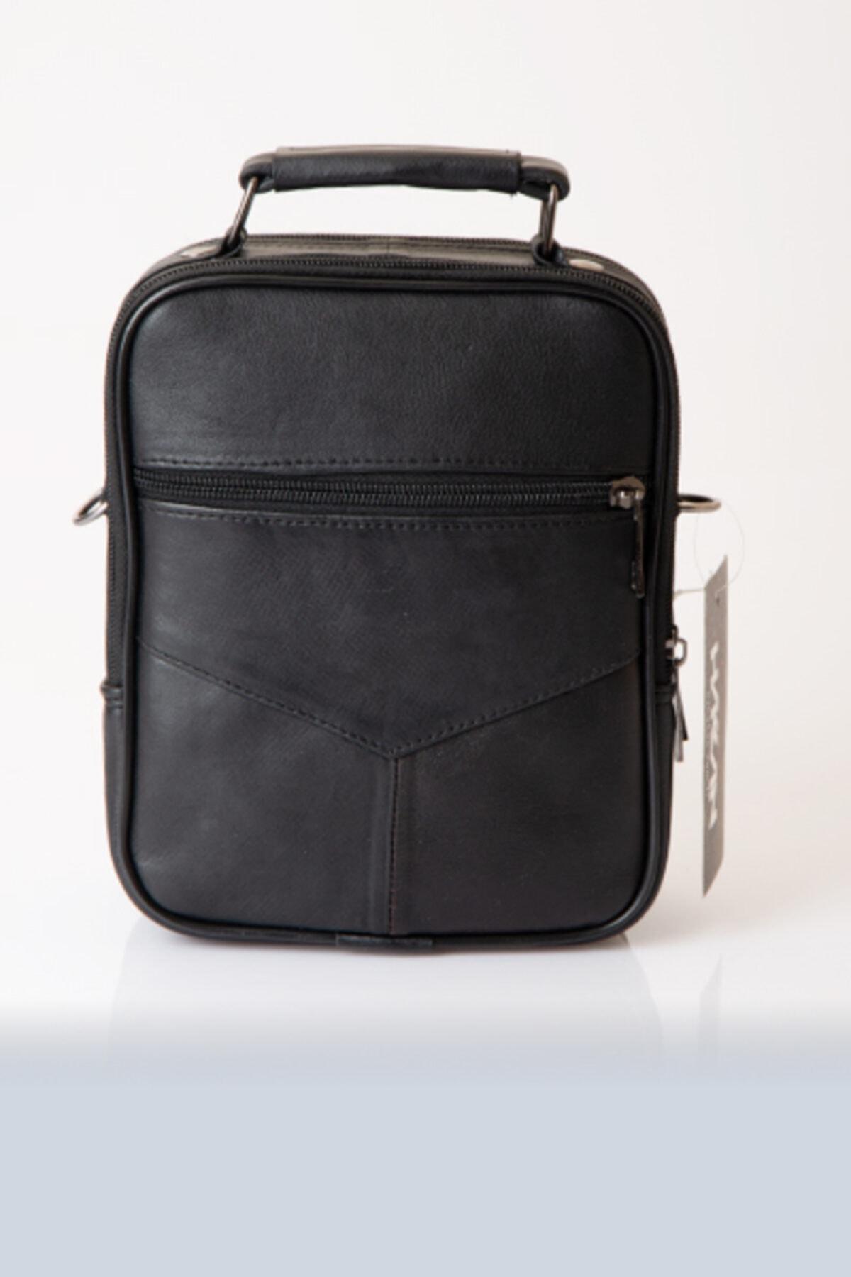 HAKKAN ÇANTA Hakiki Deri Kasalı Erkek El Ve Omuz Askılı Çanta Orta Boy 3009-1 Siyah